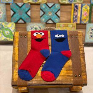جوراب ساقدار نخ پنبه تا به تا با طرح المو (Elmo)