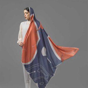 روسری غالی قاپو طوسی نارنجی