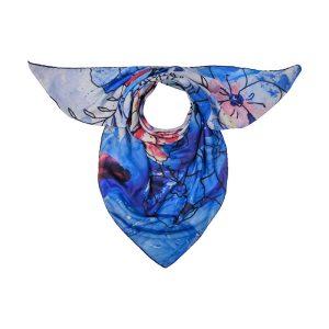 روسری گل آبی قرمز
